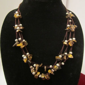 Tiger's Eye Nugget Strung Beads Necklace AVON EUC